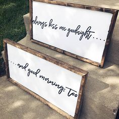 Always Kiss Me Goodnight / Always Kiss Me Good Morning / Wedding Gifts / Housewarming Gift / Marriage Gift / Bedroom Sign / Master Bedroom Bedroom Signs, Home Bedroom, Master Bedroom, Bedroom Decor, Bedding Decor, Bedroom Ideas, Bedrooms, Diy Signs, Home Signs