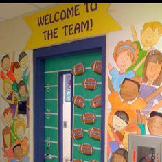 """My 3rd Grade door! My room was the """"team"""" theme"""