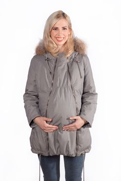 Down filled winter maternity parka coat to keep you and baby warm this winter. Maternity Coats, Maternity Winter Coat, Maternity Jacket, Baby Warmer, Parka Coat, Fur Trim, Rain Jacket, Windbreaker, Kid