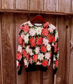 Vintage Floral hand knitted Sweater by KheGreen on Etsy