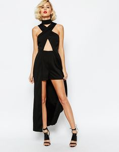 Image 1 of Lavish Alice High Neck Cut-Out Detail Maxi Overlay Romper