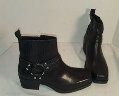 NEW WOMEN'S VAGABOND ARIANA BLACK LEATHER HARNESS ANKLE BOOTS US 7 EUR 37 #Vagabond #HARNESS