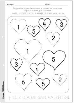 Actividades San Valentín en clase - Repasar. colorear y números