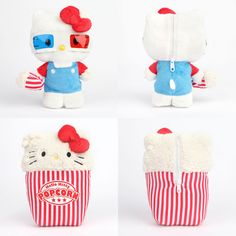 Hello Kitty Reversible Popcorn Plush Toy with Sticker - BONUS Con 2014 Tattoos Sanrio Hello Kitty, Hello Kitty Plush, Hello Kitty Cake, Hello Kitty Items, Kawaii Shop, Kawaii Cute, Pokemon Plush, Hello Kitty Collection, Baby Sewing Projects