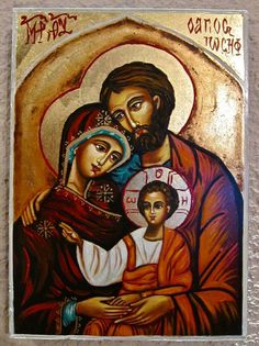 Holy Family hand painted Icon Catholic Religious Art Wedding Gift