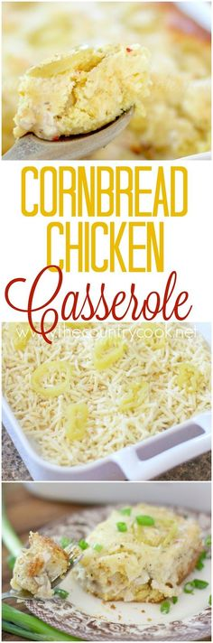 Cornbread Chicken Casserole recipe from The Country Cook. A super yummy creamy chicken filling surrounded by flavorful cornbread made with cream-style corn. All topped with gooey cheese. Our new favorite!