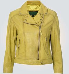 Suzy Ted Yellow Leather Jacket    Jacket Features  Outfit type: Genuine Leather Jacket Gender : Male Color : Yellow Front : Front Zip Closure Collar : Shirt Style Collar Lining : Viscose Lining Cuffs : Rib-Knit Cuffs Pockets: Two Zip pockets & Two inside pock