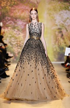 ZUHAIR MURAD Silk and tulle gown with panther print embroidered detailing