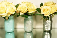 Back to School - Home, Dorm or Office Decor, Wedding - Mason Jars - Blue and Silver Ombre - Industrial - Pen and Pencil Holders. $15.00, via Etsy.