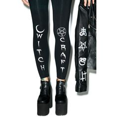 BLACK HOPE CURSE Witch Craft Leggings ($40) ❤ liked on Polyvore featuring pants, leggings, tapered pants, fitted pants, patterned leggings, print leggings and print trousers