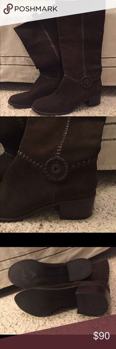 Jack Rogers Brown Suede Boots Never worn except to try on.  Have been kept in a boot box (my own).  No marks or scuffs.  Size 10. Jack Rogers Shoes Heeled Boots