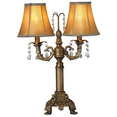"""River of Goods Downton Abbey 21.50"""" H Two-Arm Crystal Glass Table Lamp with Bell Shade & Reviews 