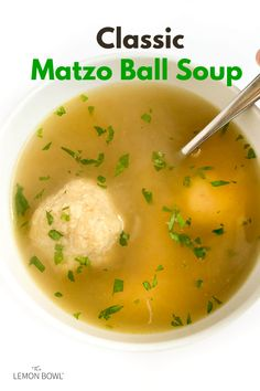 The only matzo ball soup recipe you'll ever need, each bowl is brimming with deep chicken flavor and light, fluffy matzo balls. Matzo Ball Soup Recipe, Lemon Bowl, Good Food, Yummy Food, Chicken Flavors, Healthy Soup Recipes, Fabulous Foods, Cooking Light, Grilling Recipes