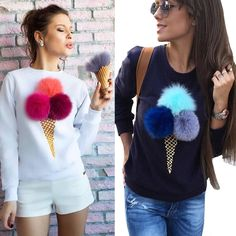 2016 Hottest Trend Kawaii Pompon Long Sleeve Pullovers Sweatshirt Women Hoodies Streetwear Plus Size sudaderas mujer Fashion Details, Diy Fashion, Fashion Outfits, Womens Fashion, Diy Clothing, Refashion, Blouse Designs, Street Wear, My Style