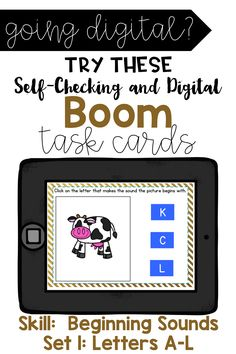 Do your kids need more beginning sound practice? This fun and engaging resource is just for them. This product contains 20 digital Boom Cards covering the skill of beginning sounds. Students will look at the picture and listen to the word (name of the picture). They will choose the correct letter that identifies the beginning sound. This product is self-checking. Enjoy this Product. Perfect for 1:1 technology and distance learning! First Grade Activities, Sight Word Activities, Back To School Activities, Literacy Stations, Literacy Centers, Motivational Activities, Comprehension Strategies, Reading Comprehension, Flipped Classroom