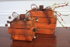 Wooden Pumpkins - Set of 2 on Etsy, $20.00