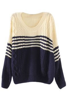 Two-Tone #Striped #Cable #Sweater - OASAP.com ★ Black Friday Day sale! Free  Shipping + Up to 85% OFF!