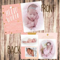 Hello World Birth Announcement by SweetTeaSpecialties on Etsy