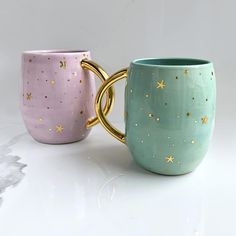 Pastel Galaxy Mug with Gold Stars, Celestial Porcelain Mug, Modern Mud Cute Coffee Mugs, Cool Mugs, Coffee Cups, Tassen Design, Pastel Galaxy, Keramik Design, Pottery Painting Designs, Cute Cups, Porcelain Mugs
