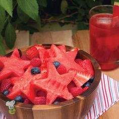 Star-Spangled Fruit Salad : Celebrate the Fourth of July with a healthy fruit salad. This healthy fruit salad is perfect for Fourth of July or any outdoor summer party.