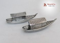 Japanese Figural Boat 950 Sterling Silver Salt And Pepper Shakers