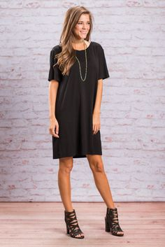 """Smooth Moves Piko Dress, Black"" Description   Attributes   Model Specs Description Attention ladies! We have a new Piko just for you! This Piko dress is a not only comfy it's casual and adorable! We love that there are so many ways to style this beauty!  #newarrivals #shopthemint"