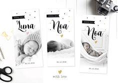 Uniek geboortekaartje met foto van onze collectie with love. Geboortekaartjes | met foto | goud | zwart wit fotografie | cute