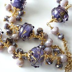 Lampwork Necklace...trubute to the beautiful Wisteria...