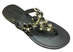 Mystique Mariposa Black Painted Sole Sandal in Black, 8 for sale Mystique Sandals, Jeweled Sandals, Miller Sandal, Black Sandals, Me Too Shoes, Tory Burch, Flip Flops, Flats, Jewels