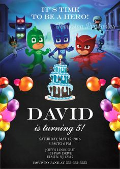 PJ Masks Birthday Invitation Printable DIGITAL Personalized Invite