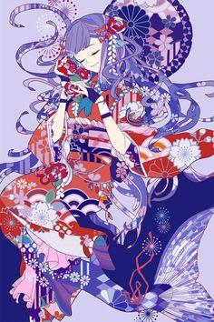 """貝を耳にあてると海の音がするという話を元にした構図でしたが、元絵の椿の髪飾りが可愛かったので貝ではなく椿を持たせることにしました。 海(人魚の故郷)の音はしませんが、椿に故郷の記憶を見ているような感じで描きました。 <span style=""""color:#7f7f7f;"""">この画像の権利はCopan株式会社に帰属します</span>"""