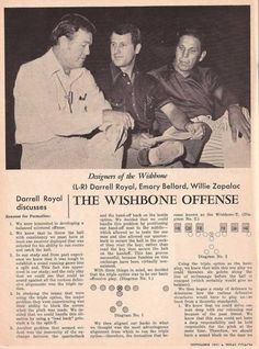 Article on the invention of the Wishbone offense, at University of Texas with the its architects Longhorn coaches Darrell Royal, Emory Bellard (future A&M head coach) and Willie Zapalac (former Aggie great).