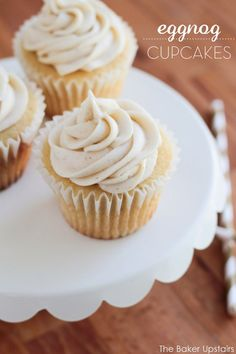 Eggnog cupcakes - so rich, flavorful, and delicious! www.thebakerupstairs.com