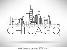 Find Linear Chicago City Silhouette Typographic Design stock images in HD and millions of other royalty-free stock photos, illustrations and vectors in the Shutterstock collection. Chicago Skyline Pictures, Chicago Skyline Drawing, City Sketch, City Drawing, Map Painting, Chicago City, Skyline Art, My Kind Of Town, Usa Tumblr