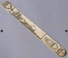 """Skinner's Historic Maritime Online Auction 2900T 6/9/16 Lot 1092.  Estimate $400-600. Realized: $1,400.  Description: Scrimshaw-decorated Whalebone Busk, America, 19th century, one shaped and one rounded end, decorated on one side with a central panel depicting a whaleship flying an American flag, a harpooned whale, and two whale boats, inscribed """"Whale,"""" lg. 12 1/2 in."""