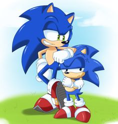Classic and Modern Sonic the Hedgehog... Looks like Sonic's found himself an elbow rest.
