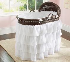Ruffle Bassinet Bedding | Pottery Barn Kids $139... I love that my mom can make things like this for so much cheaper lol. I wish I had inherited that talent!