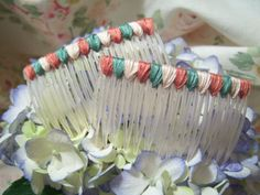 Flossy Hair Combs Coral Sage Green & Ivory by PerDonna on Etsy, $8.00