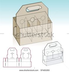Glasses And Brewery Storage Box With Handle Die Cut Pattern Layout Stock Vector Illustration 97465265 Shutterstock