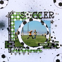 Love the use of a quartered sticker to create corners  Soccer *Moxxie* - Scrapbook.com