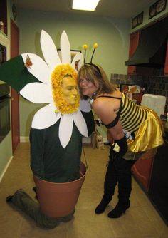 Daisy & Bee Homemade Costume - Halloween Costume Contest via Diy Couples Costumes, Creative Halloween Costumes, Couple Halloween Costumes, Diy Costumes, Costume Ideas, Halloween Couples, Halloween Ideas, Happy Halloween, Clever Costumes