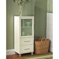 Bathroom: Frosted Pane 2 Drawer Floor Cabinet - White : Target ($114)