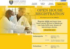 Saint James School of #Medicine Open House Registration Portal, designed by TimeZoneOne