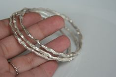 Fused Silver Bangles - Thin, organic, modern, contemporary - pinned by pin4etsy.com