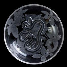 Garter Snake Bowl - by Black Tie Crystal. Delphi Artist Gallery