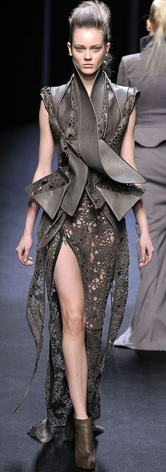 This is a little apocalyptic, but I could rock this with some red lipstick!   Haider Ackermann, Fall 2010