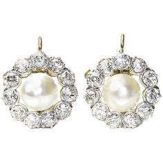 Antique Pearl and Diamond Earrings | From a unique collection of vintage more-earrings at https://luigi.1stdibs.com/jewelry/earrings/more-earrings/
