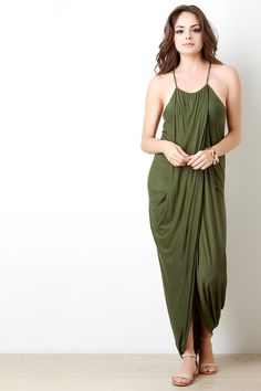 Draped Halter Sleeveless Maxi Dress