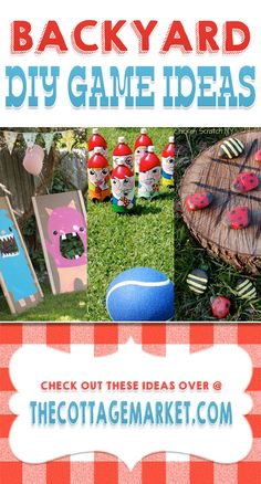 Spring has sprung and the warm weather is going to be here really soon!  Time to think about some fun games for the family!  We have a great collection of BackYard DIy Game Ideas for you today.  From Ladybug Tick tack toe to bowling with Gnomes!  There is something for everyone and tons of fun for ALL!  http://www.thecottagemarket.com/2014/03/backyard-diy-game-ideas.html