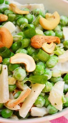 Salad Recipe ~ Sweet peas never tasted so good!Pea Salad Recipe ~ Sweet peas never tasted so good! Pea Salad Recipes, Veggie Recipes, Cooking Recipes, Healthy Recipes, Slow Cooking, Healthy Salads, Easy Cooking, Salads, Kitchens